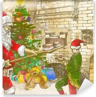 Babbo Natale Originale.Quadro Su Tela Babbo Natale Come Panettiere Dimensioni Originale