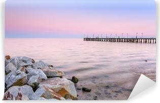 Carta da Parati Autoadesiva Molo Baltico a Gdynia Orlowo al tramonto, Polonia