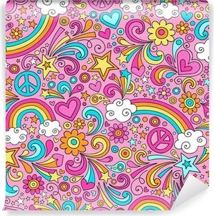 Carta da Parati Autoadesiva Peace and Rainbows psichedelico di Doodle Seamless Vector Pattern