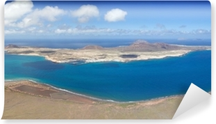 Carta da Parati Autoadesiva Vista panoramica su isola di La Graciosa, Lanzarote, Spagna