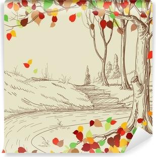 Carta da Parati in Vinile Autunno albero nel disegno parco, foglie luminose che cadono