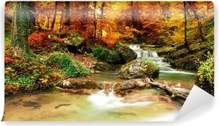 Carta da Parati in Vinile Autunno creek boschi con alberi gialli
