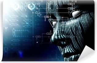 Carta da Parati in Vinile Background tecnologico con il viso. Codice binario, concetto di internet