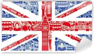 Carta da Parati in Vinile Bandiera dell'Inghilterra dai simboli del Regno Unito e Londra