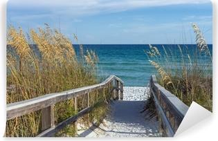 Carta da Parati in Vinile Beach Boardwalk con dune e mare Avena