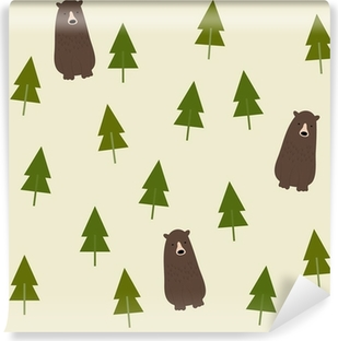 Carta da Parati in Vinile Bear and forest seamless background.