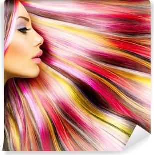 Carta da Parati in Vinile Beauty Fashion Model Girl with Colorful Capelli tinti