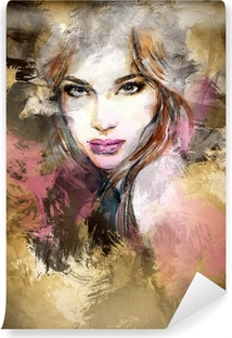 Carta da Parati in Vinile Bella donna di fronte. acquerello illustrazione