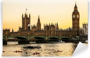 Carta da Parati in Vinile Big Ben Clock Tower e la casa del Parlamento a City of Westminster,