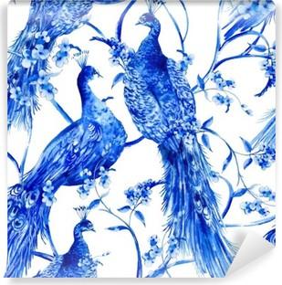 Carta da Parati in Vinile Blu acquerello fiore seamless vintage con pavoni