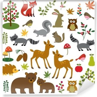 Carta da Parati in Vinile Bosco fauna clipart