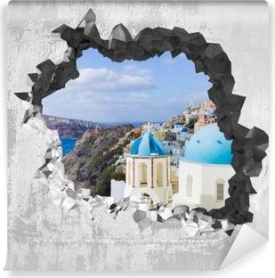Carta da Parati in Vinile Buco nel muro - Paesaggio di Santorini