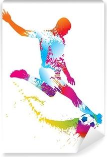 Carta da Parati in Vinile Calcio giocatore calcia il pallone. Illustrazione vettoriale.