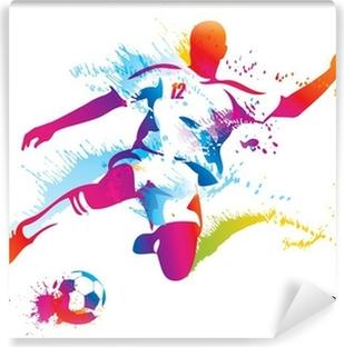 Carta da Parati in Vinile Calcio giocatore calcia il pallone. L'illustrazione vettoriale colorato