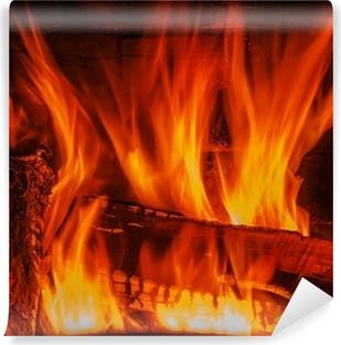 Carta da Parati in Vinile Camino con legna e fuoco