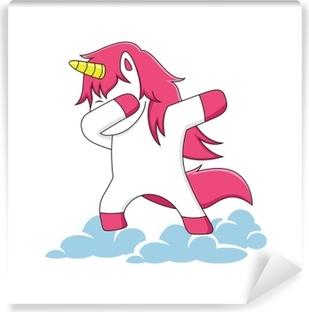 Carta da Parati in Vinile Caratteri di unicorno rosa che doppino sulle nuvole