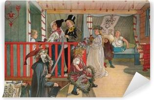 Carta da Parati in Vinile Carl Larsson - Onomastico nel capanno degli attrezzi