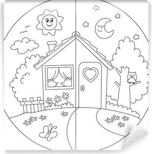 Cielo Stellato Da Colorare Per Bambini.Quadro Su Tela Casa Di Campagna Giorno E Notte Da Colorare Per