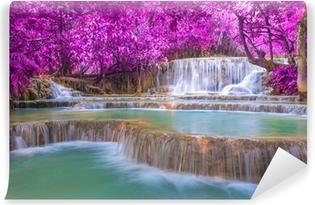 Carta da Parati in Vinile Cascata nella foresta pluviale (cascate di Kuang Si Tat a Luang Praba
