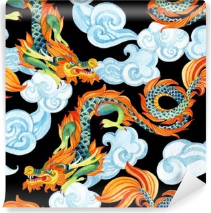 Carta da Parati in Vinile Chinese Dragon seamless. illustrazione Drago asiatico