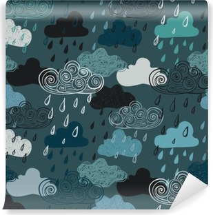 Carta da Parati in Vinile Colorato Seamless Pattern of Rain Clouds.