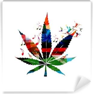 Carta da Parati in Vinile Colorful vettore foglia di cannabis con colibrì sfondo