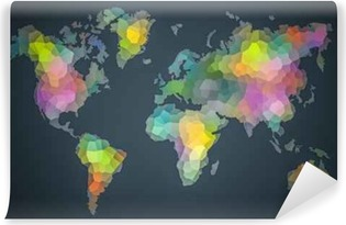 Carta da Parati in Vinile Colorful World diversità Mappa