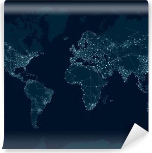 Carta da Parati in Vinile Comunicazioni mappa della rete del mondo