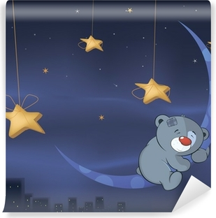 Carta da parati orso sulla luna cartone animato u2022 pixers® viviamo