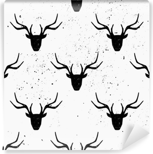 Carta da Parati in Vinile Deer Head Silhouette Seamless Pattern
