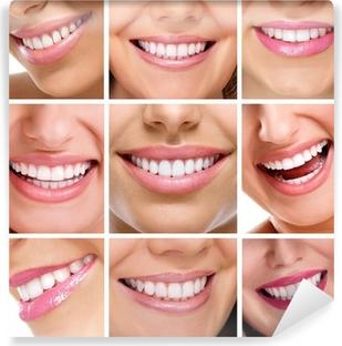 Carta da Parati in Vinile Denti collage di sorrisi di persone