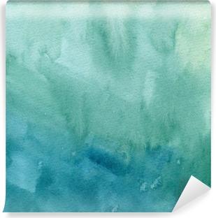 Carta da Parati in Vinile Disegnata a mano blu turchese, verde acquerello pittura astratta trama. Raster gradiente splash sfondo.