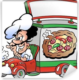 Carta da Parati Lo chef italiano con l illustrazione della pizza cartone  animato • Pixers® - Viviamo per il cambiamento c97131f676fe