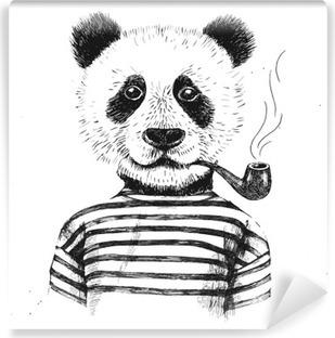 Carta da Parati in Vinile Disegnato a mano Illustrazione di pantaloni a vita bassa del panda