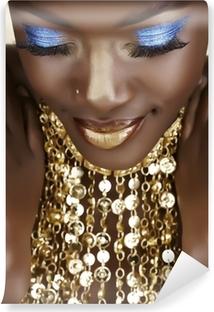 Carta da Parati in Vinile Donna africana con oro