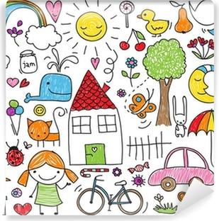 Carta da Parati in Vinile Doodle per bambini
