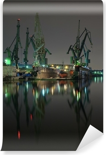 Carta da Parati in Vinile E gru del cantiere navale di Danzica, in Polonia.