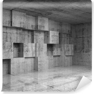 Carta da Parati in Vinile Estratto concreto 3d interno con cubetti di decorazione su muro