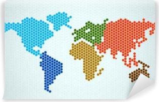 Carta da Parati in Vinile Estratto mappa del mondo di esagoni. Illustrazione vettoriale. eps 10