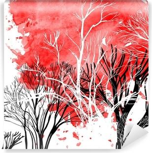 Carta da Parati in Vinile Estratto silhouette di alberi