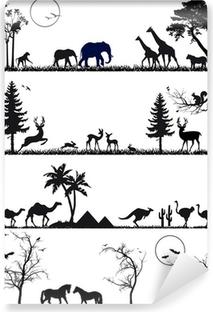 Carta da Parati in Vinile Fauna sfondo impostato, illustrazione