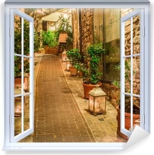 Carta da Parati in Vinile finestra bianca aperta - strada in Italia