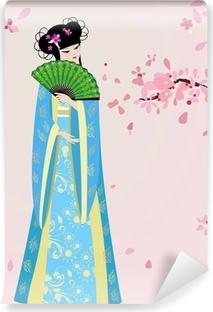 Carta da Parati in Vinile Fiore di ciliegio e una ragazza in costume nazionale