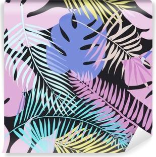 Carta da Parati in Vinile Fiori esotici tropicali e piante con foglie verdi di palme.