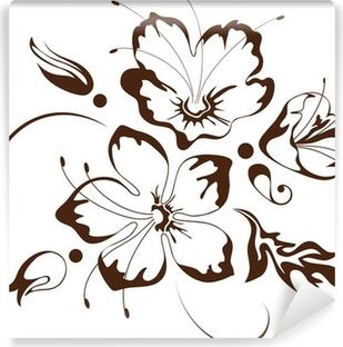 Carta Da Parati Disegno Floreale Fiori Stilizzati Pixers