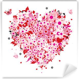 Carta da Parati in Vinile Floral forma cuore