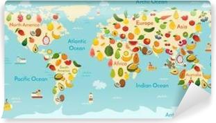 Carta da Parati in Vinile Frutta mappa del mondo. E verdure. illustrazione vettoriale, in età prescolare, il bambino, i continenti, gli oceani, disegnato, la Terra.