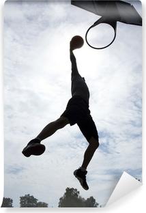 Carta da Parati in Vinile Giocatore di basket slam dunk silhouette