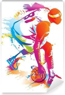 Carta da Parati in Vinile Giocatore di basket. Vector illustration