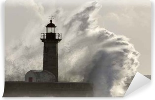 Carta da Parati in Vinile Grande ondata di mare tempesta spruzzata sul faro